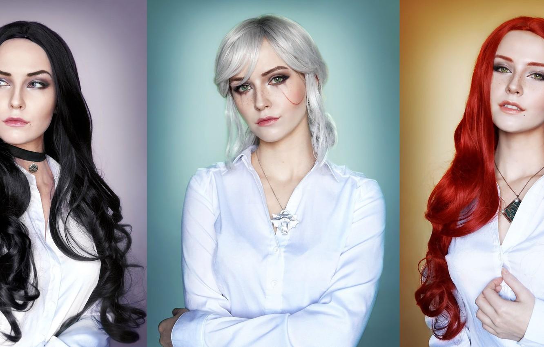 Photo wallpaper collage, Girl, the witcher, image, trio, girls, cosplay, Triss Merigold, Triss Merigold, CRIS, Ciri, , …
