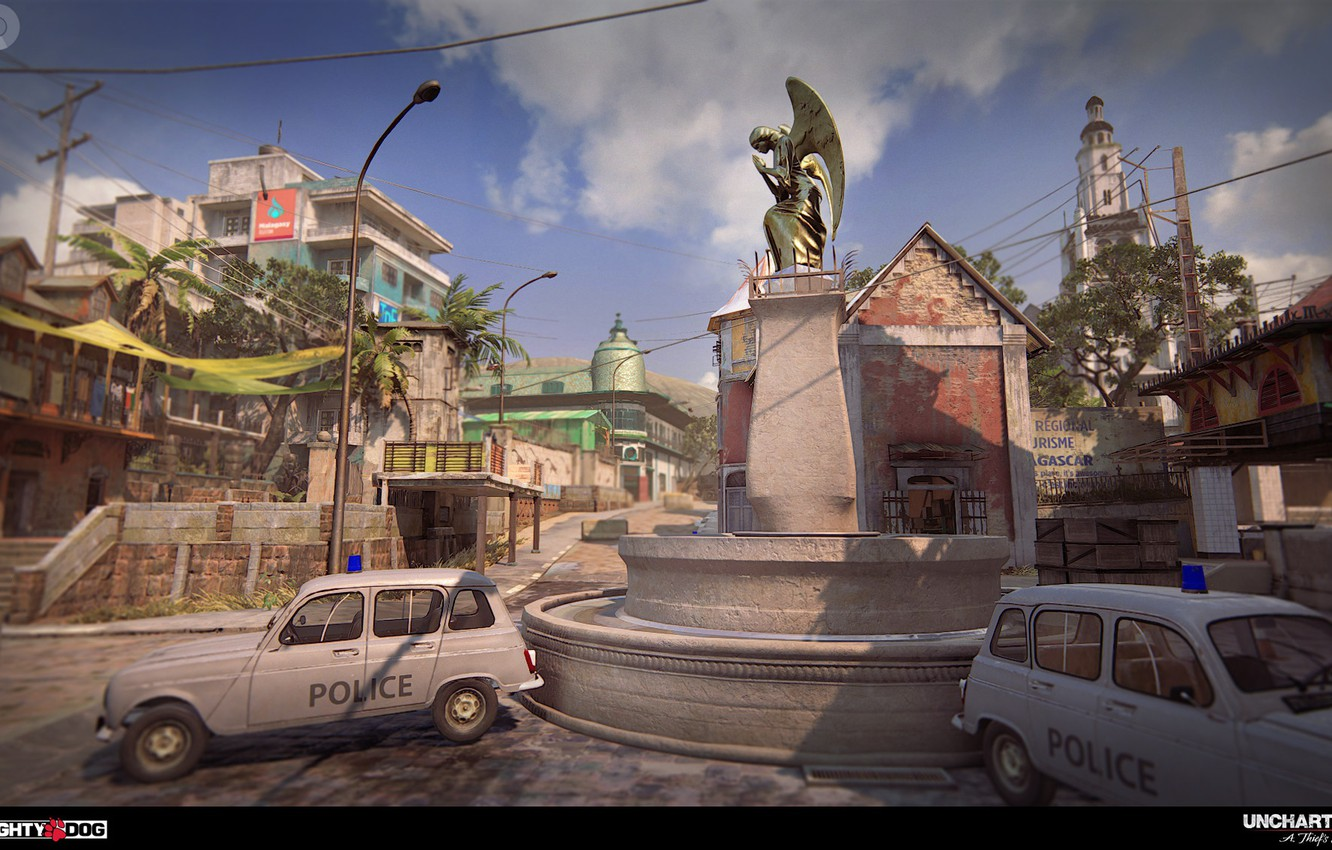 Photo wallpaper the city, street, building, police, monument, cars, Uncharted 4, Madagascar City MP