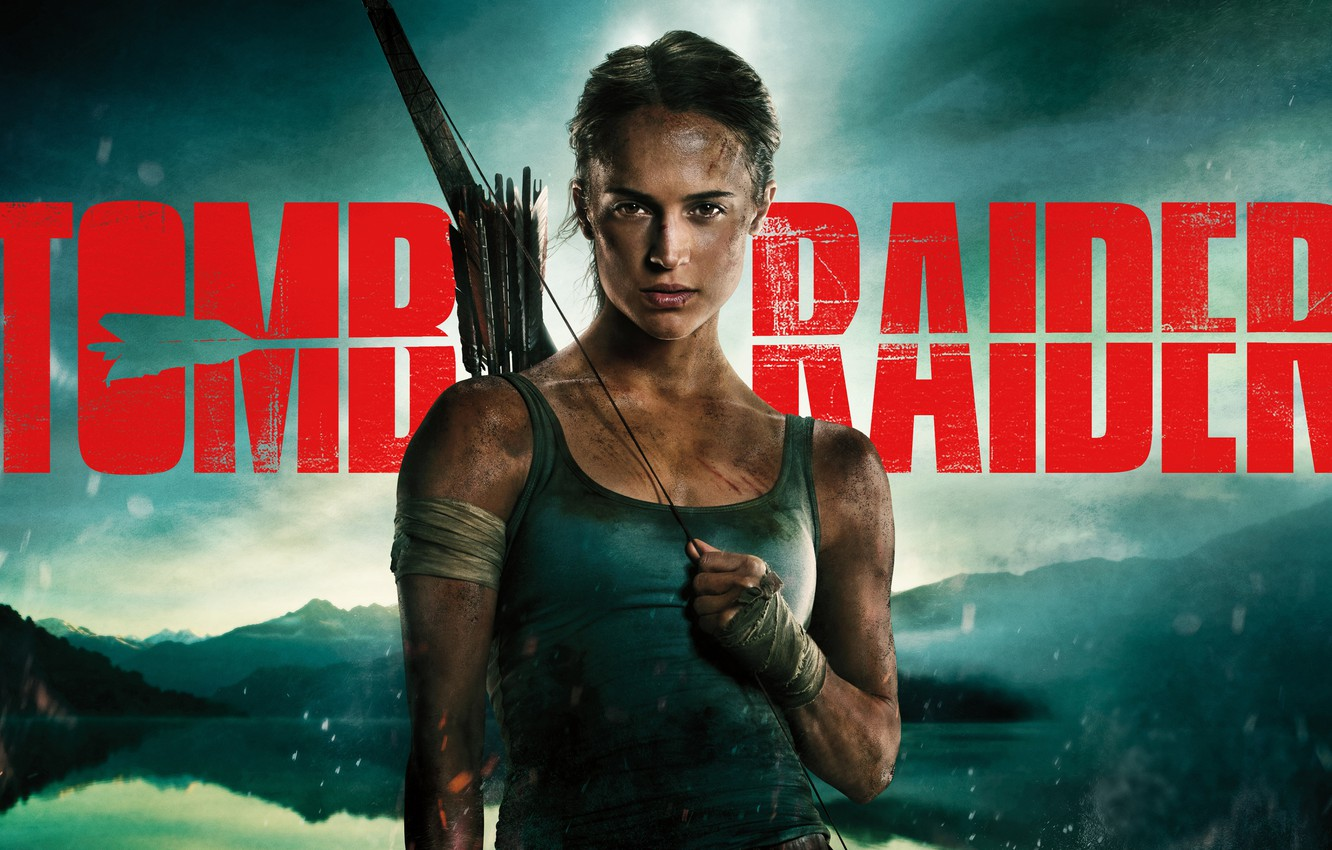 Photo wallpaper girl, landscape, background, the inscription, Mike, bow, Tomb Raider, Lara Croft, arrows, poster, bandages, grimy, …