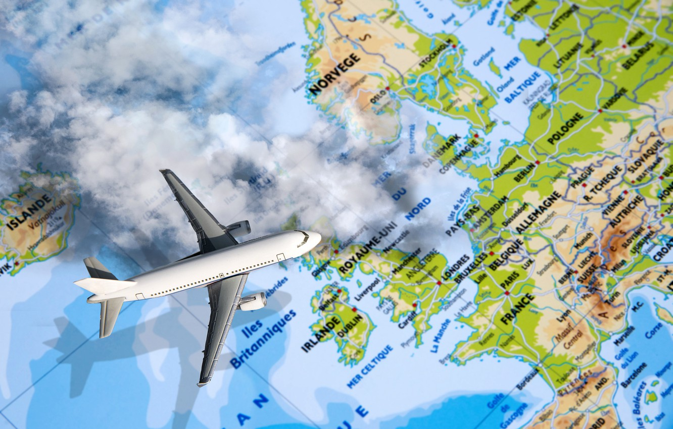 Photo wallpaper clouds, country, city, photoshop, map, shadow, the plane, the globe, flies, the view from the ...