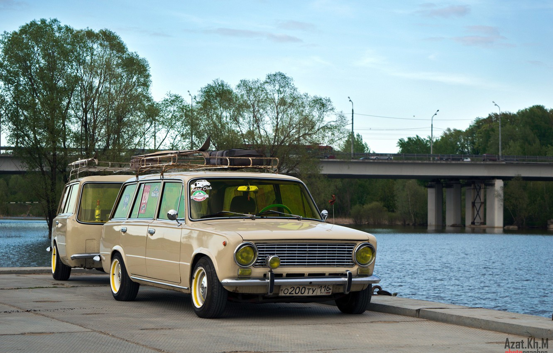Photo wallpaper bridge, retro, river, tuning, Russia, classic, the trailer, 2102, Lada