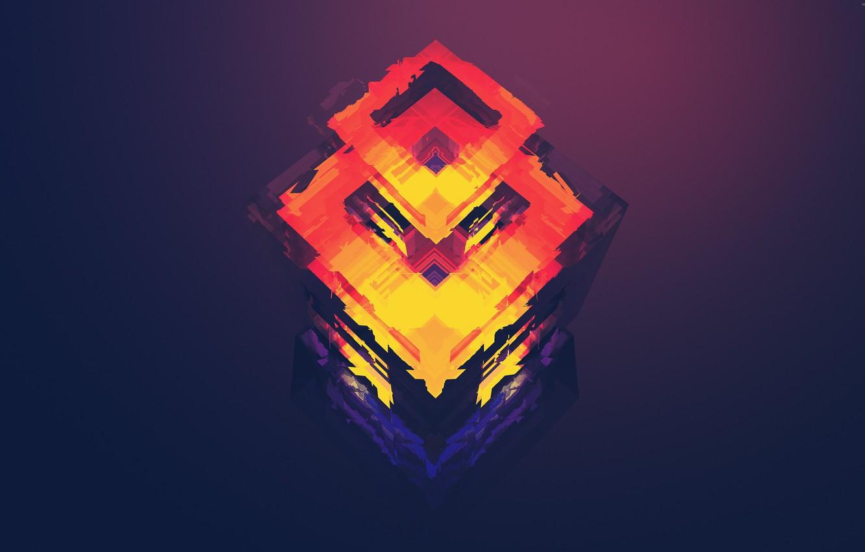 Photo wallpaper purple, orange, red, minimalism, art, Abstraction, figure, rhombus, polygon