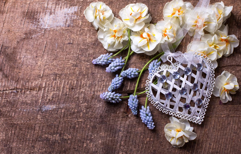 Photo wallpaper flowers, heart, spring, love, heart, wood, flowers, romantic, spring