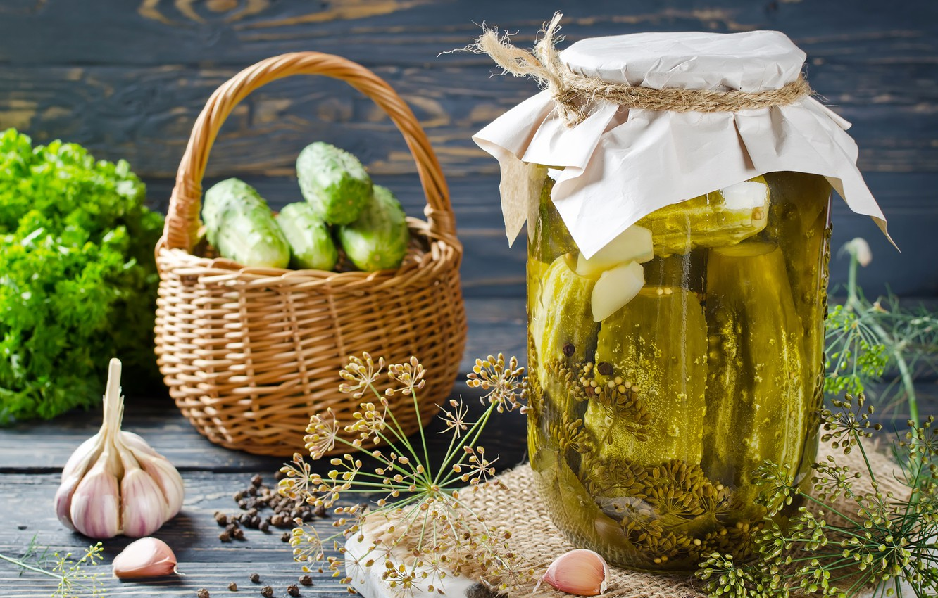 Photo wallpaper greens, background, dill, pepper, basket, picture, garlic, appetizer, salting, matting, wooden boards, Bank of pickles, …