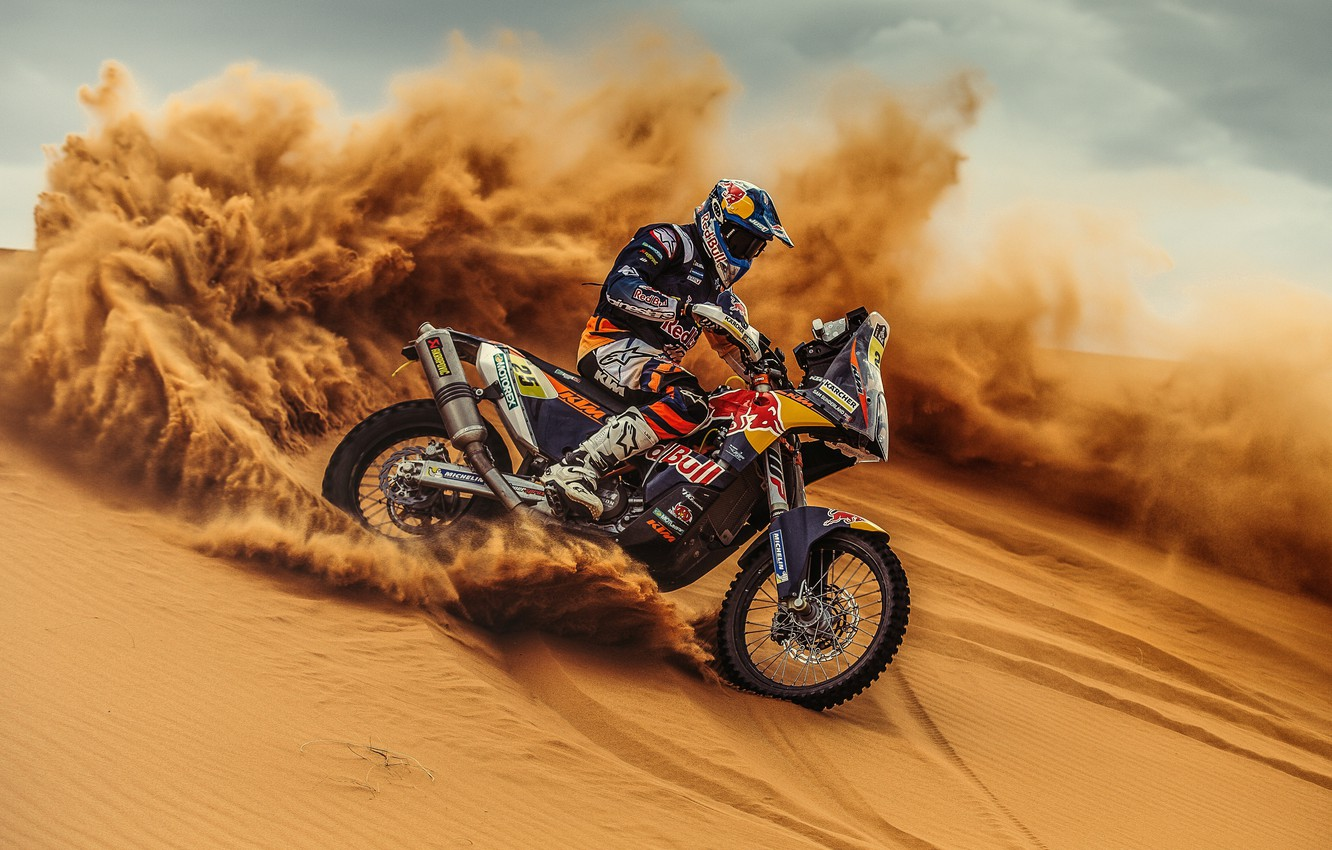 Photo wallpaper Sand, Sport, Skid, Motorcycle, Racer, Moto, KTM, Bike, Rally, Dakar, Dakar, Rally, Moto, Motorbike, Dune