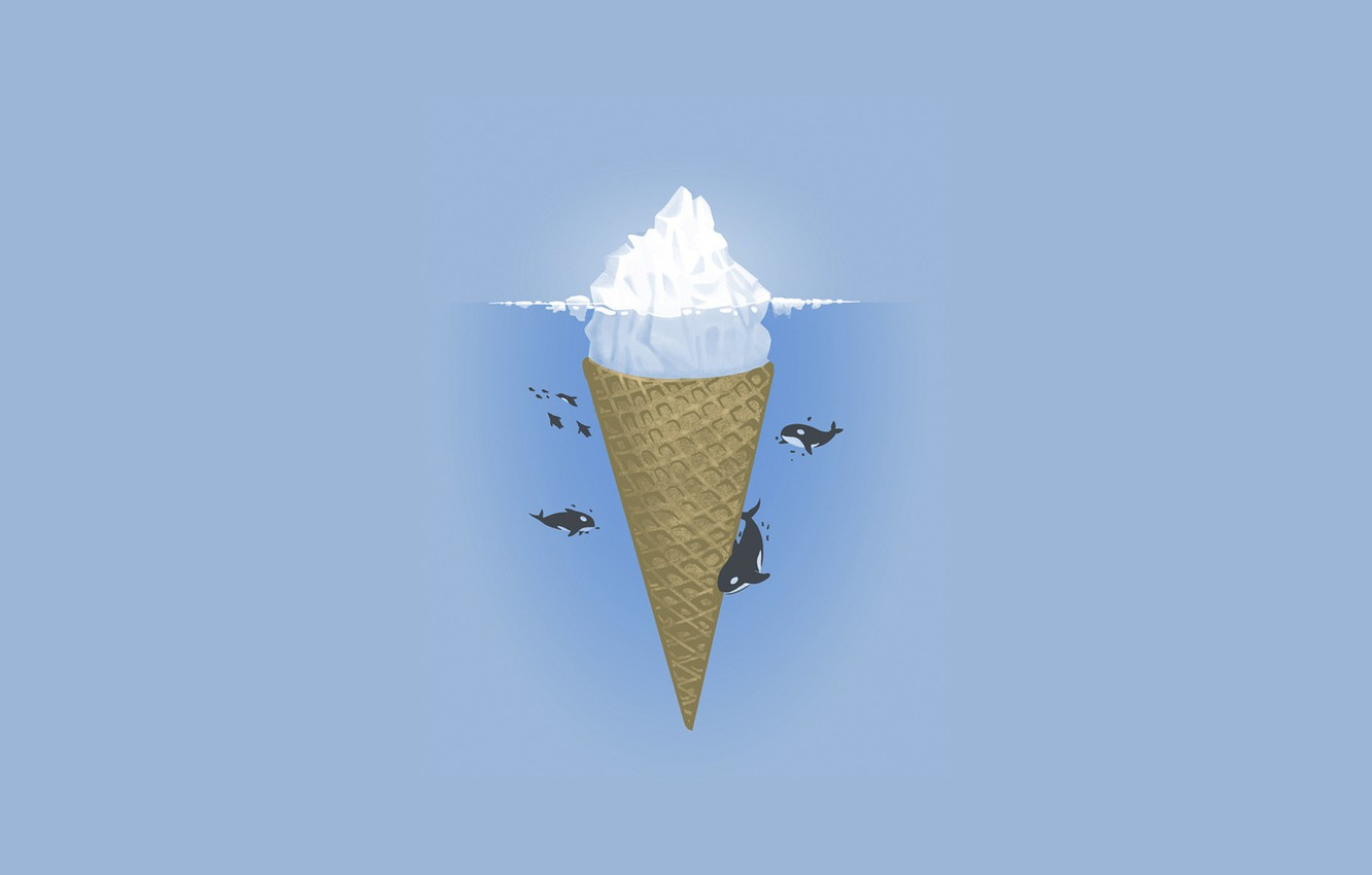 Photo wallpaper ice, water, blue, iceberg, kit, ice cream, ice, ice cream, horn, whales, blue, whale, floats