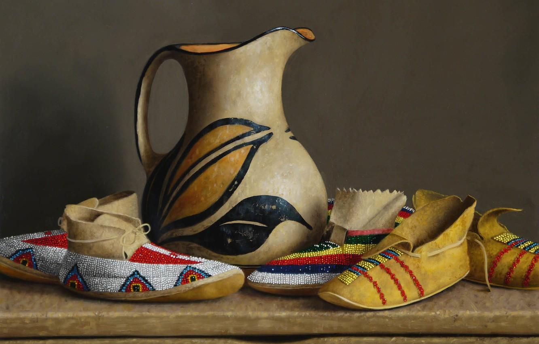Photo wallpaper pitcher, Still life, William Acheff, Indian still life, Pitcher of Milk, shoes