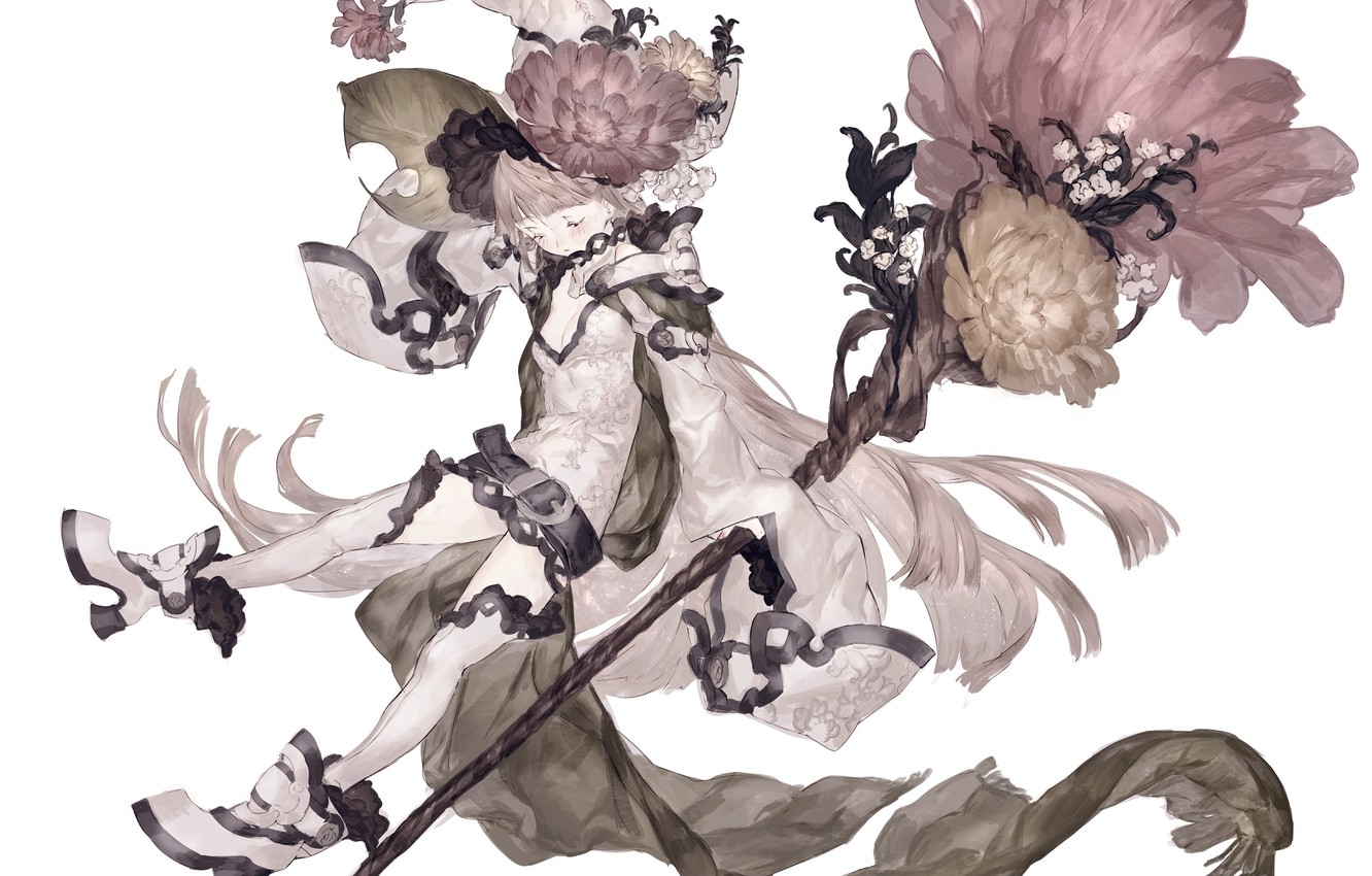 Photo wallpaper Flowers, Girl, Anime, MAG colors