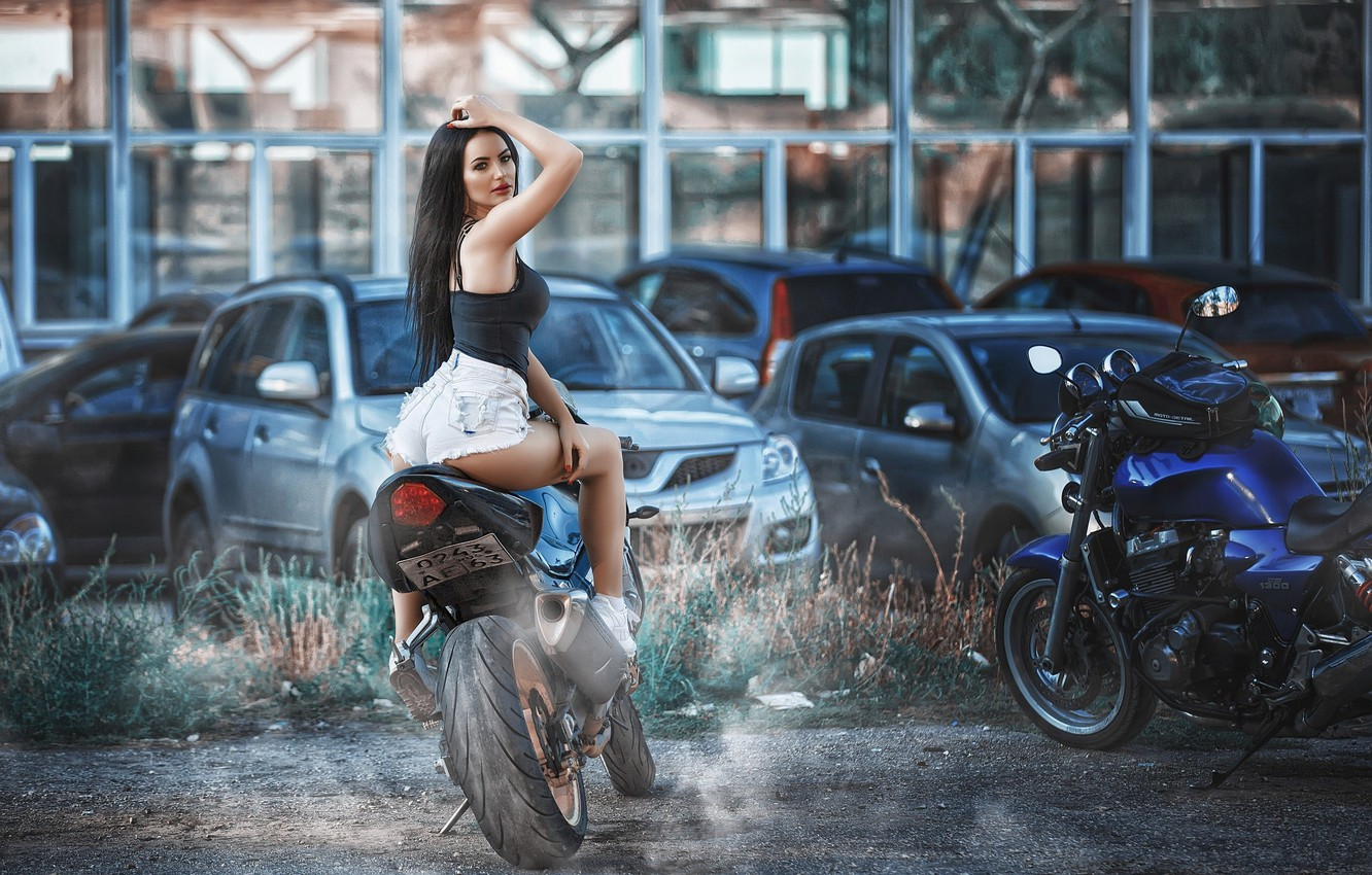 Photo wallpaper look, machine, motorcycles, shorts, makeup, Mike, figure, brunette, hairstyle, bike, beauty, sitting, sneakers, ass, posing, …