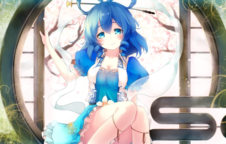 Photo wallpaper girl, smile, anime, art, Touhou