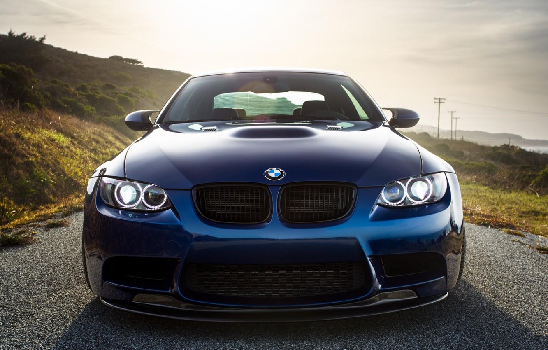 Photo wallpaper BMW, Classic, Blue, Green, Front, Sun, E92