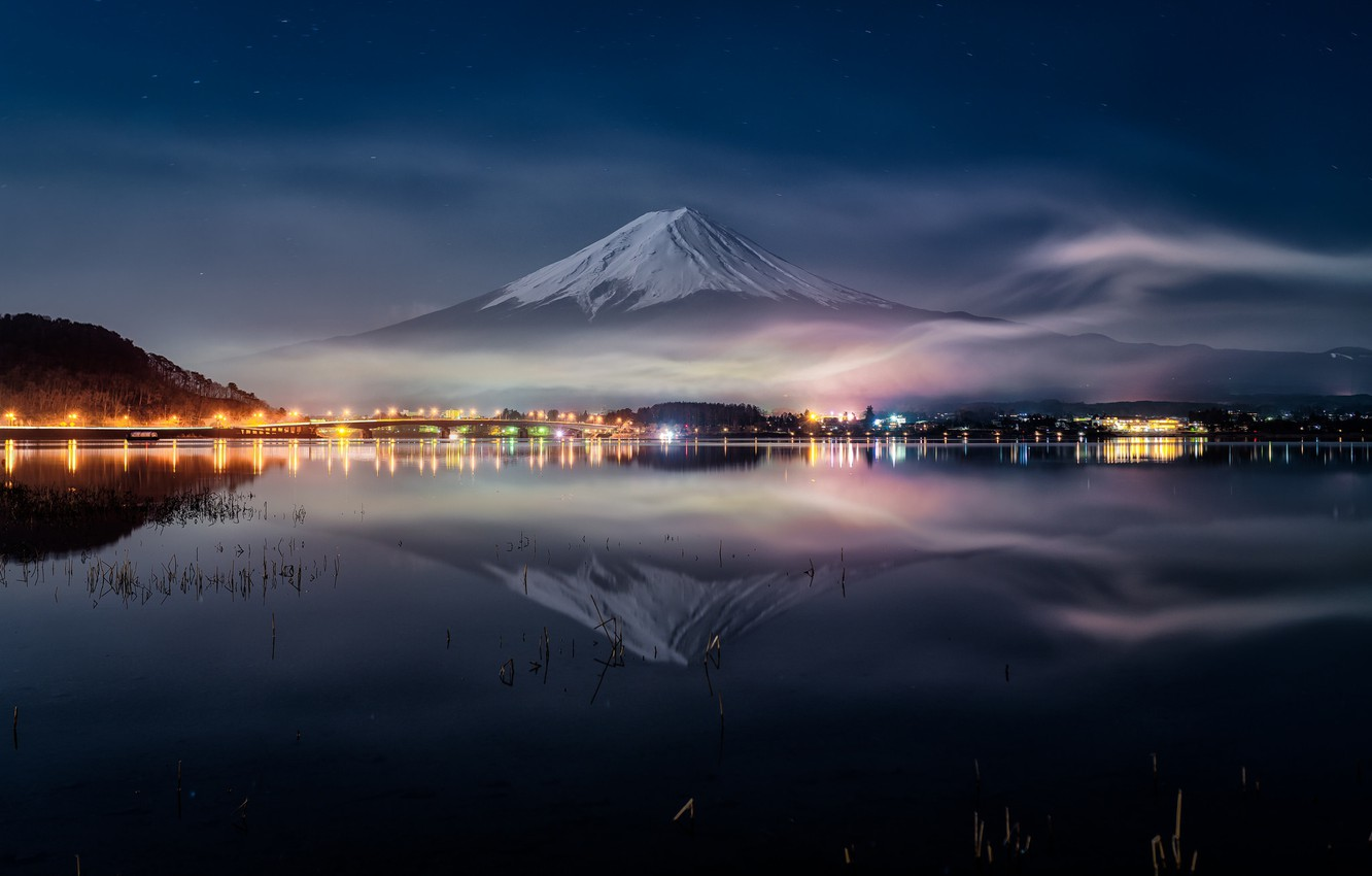 Wallpaper Water Night Reflection Japan Fuji Mount Fuji