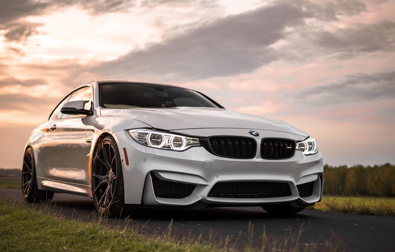Photo wallpaper BMW, white, grass, road