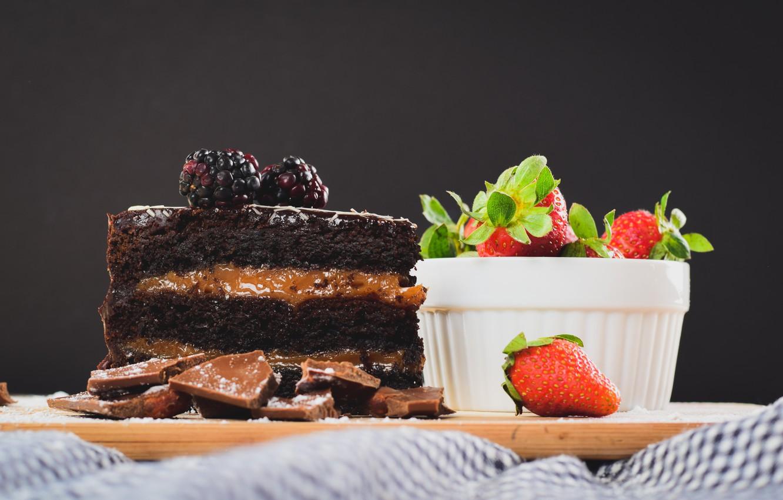 Photo wallpaper berries, strawberry, cake, cream, dessert, BlackBerry, chocolate, caramel