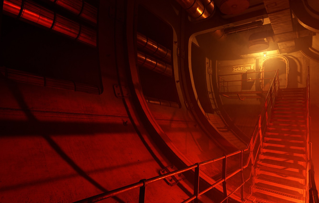 Photo wallpaper corridor, steps, shooter, MachineGames, The New Colossus, WOLFENSTEIN TNC