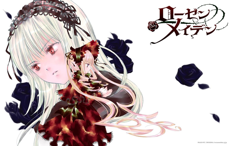 Photo wallpaper doll, red eyes, long hair, art, Suigintou, Rozen maiden, Rozen Maiden, drape, Kapor, Shinku, peach-pit, …