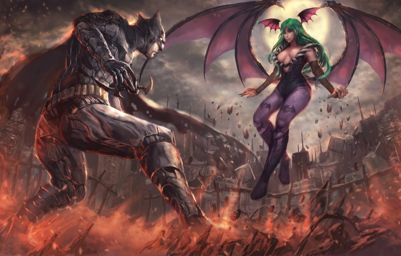 Photo wallpaper battlefield, girl, game, Morrigan, Batman, man, cartoon, fight, bat, Capcom, hero, film, animated film, DC …