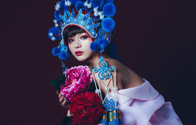 Photo wallpaper look, flowers, style, model, makeup, Asian, the dark background, headdress
