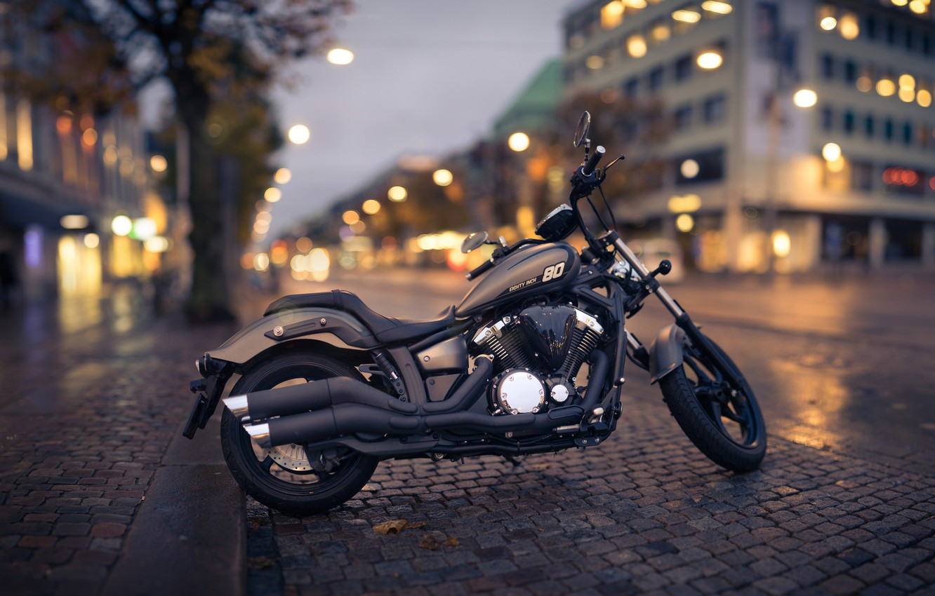 Photo wallpaper the city, style, the evening, motorcycle, bike