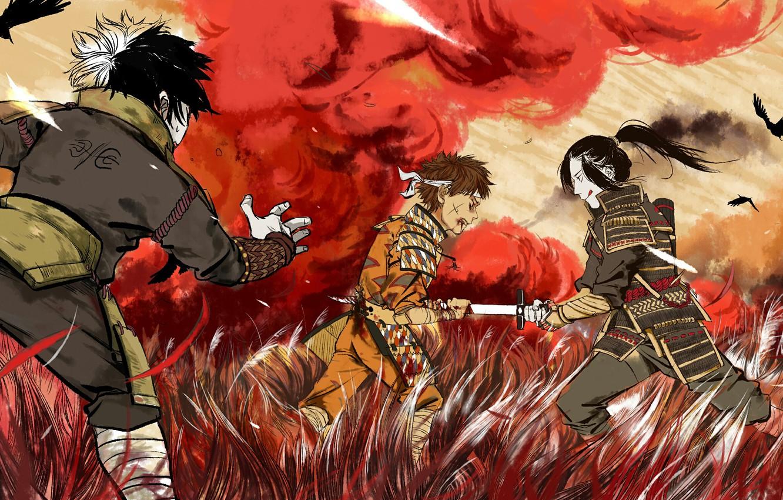 Photo wallpaper blood, the battle, Naruto, war, dead, katana, brothers, Uchiha, kids, Senju, Kawarama Senju, Itama Senju, …