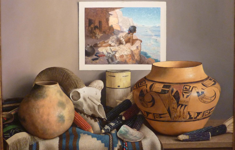 Photo wallpaper picture, corn, vase, Still life, William Acheff, Indian still life, the skull of a goat