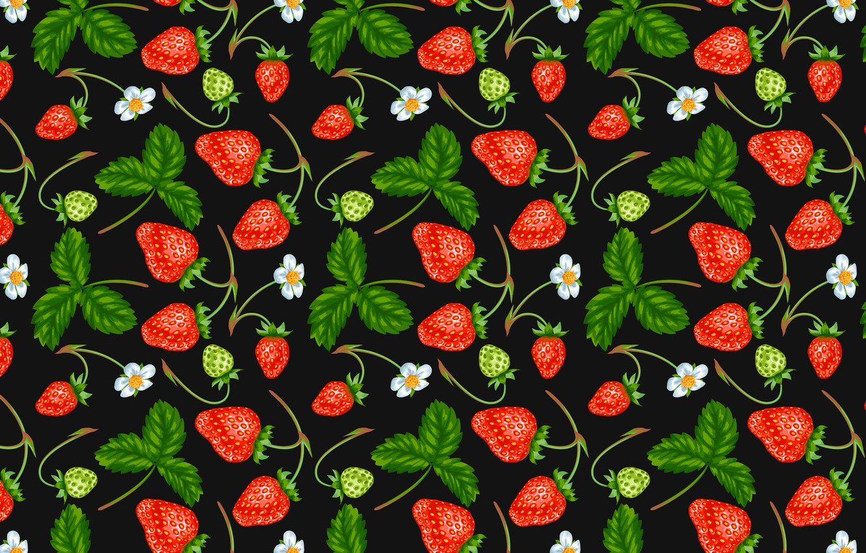 Photo wallpaper berries, strawberry, flowers