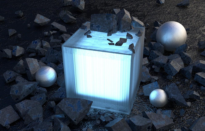 Photo wallpaper glass, reflection, stones, scene, ball, light, glass, cube, rock, art, render, render, material, cube, digital …