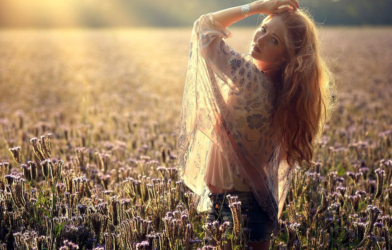 Photo wallpaper field, girl, light