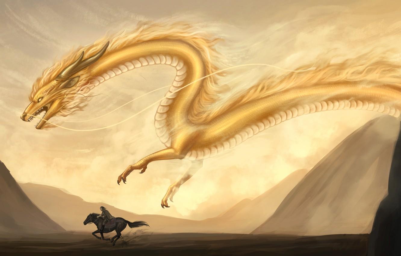 Photo wallpaper sand, mountains, yellow, animal, dragon, horse, fantasy, art, rider, flies