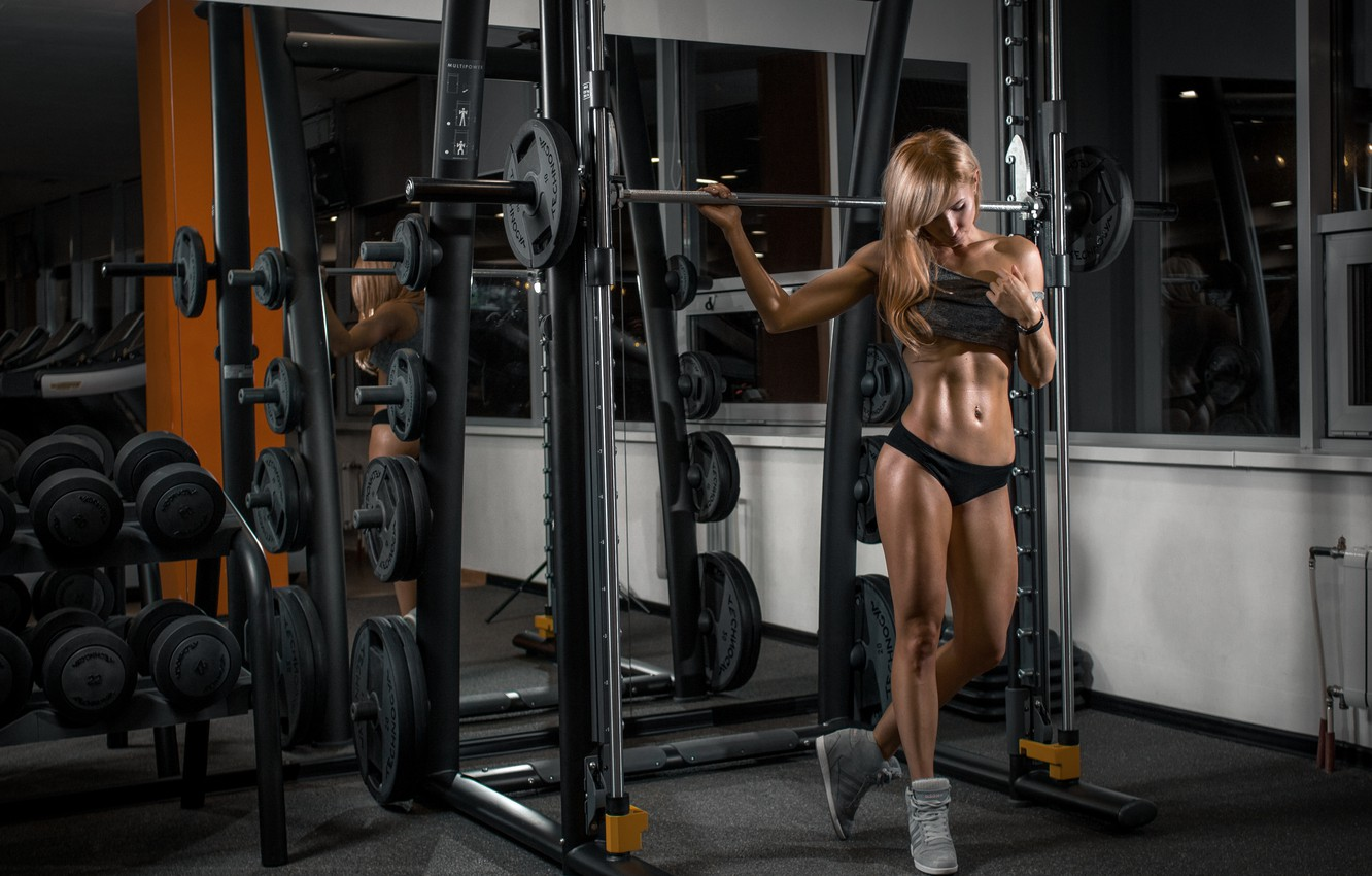 Photo wallpaper girl, model, fitness, gym