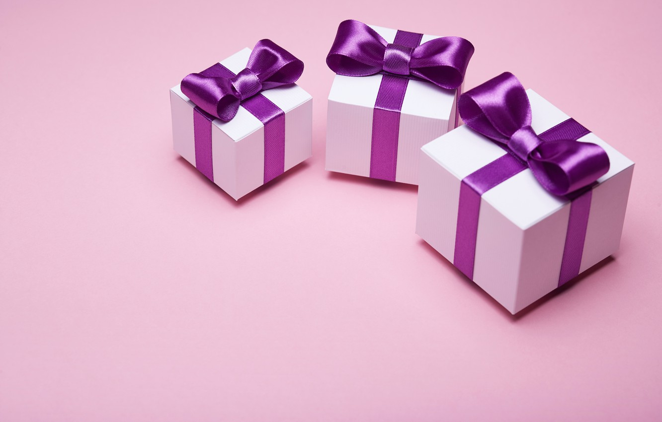 Photo wallpaper gift, tape, bow, box, pink, present, gift, bow, satin