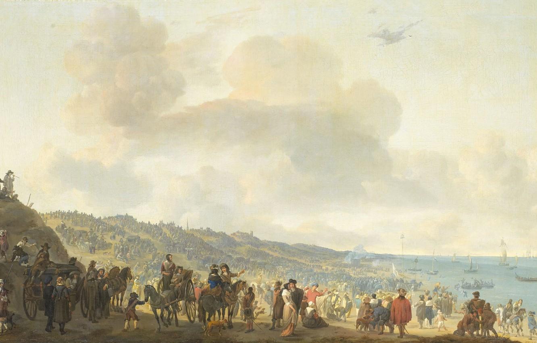 Photo wallpaper oil, picture, canvas, Departure of Charles II of England from Scheveningen, Johannes Lingelbach