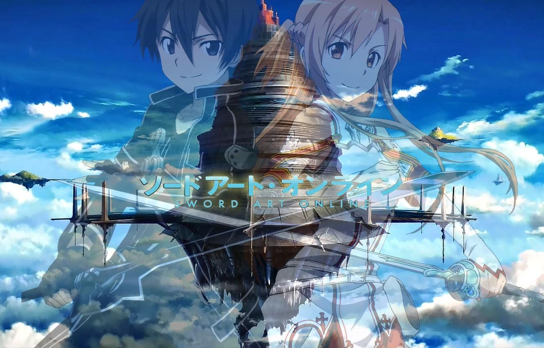 Photo wallpaper the sky, clouds, flying island, Yuuki Asuna, Sword Art Online, Kirito, Kirigaya Kazuto, Sword Art …