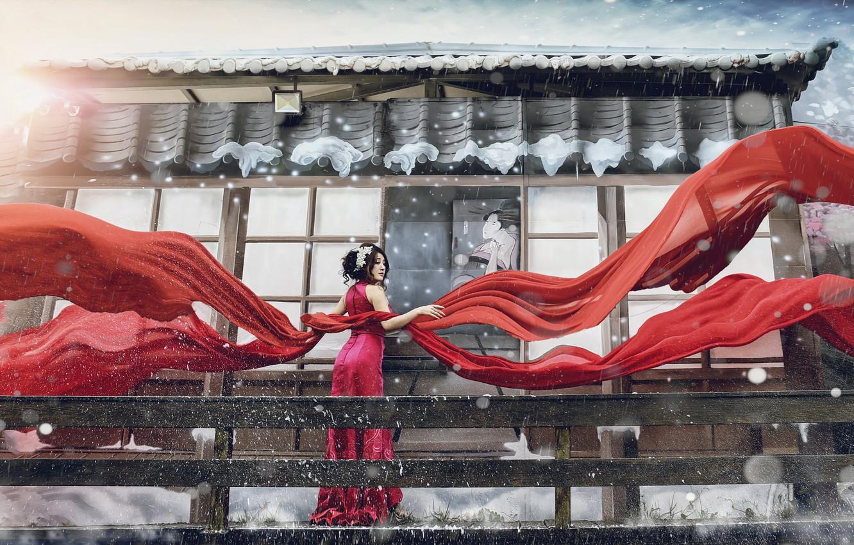 Photo wallpaper girl, style, photoshop, matter, fabric, Asian, red dress