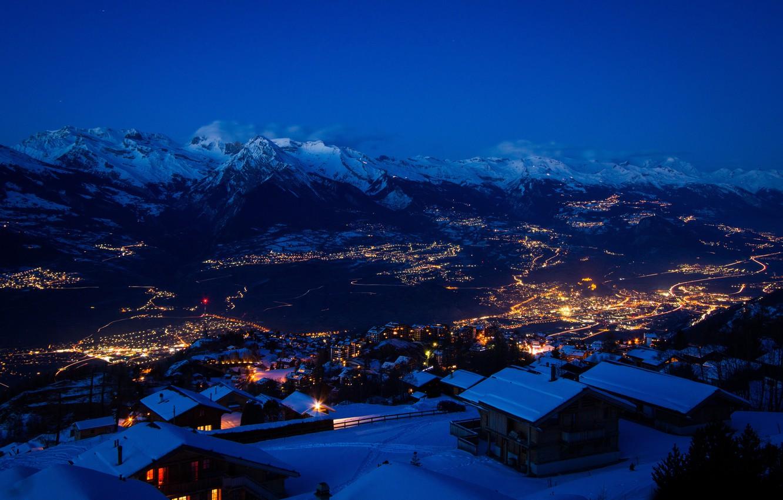 Photo wallpaper winter, snow, mountains, night, the city, lights, Switzerland, switzerland, snow stars, ultra hd, city in …