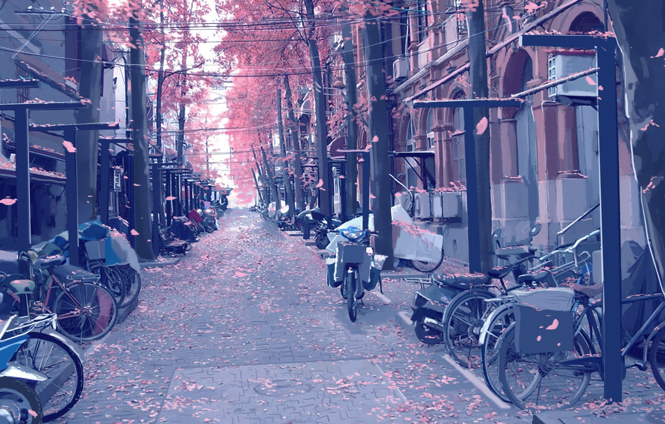Photo wallpaper motorcycles, street, posts, wire, pavers, petals, art, bikes, flowering in the spring, deserted, Xi Chen …