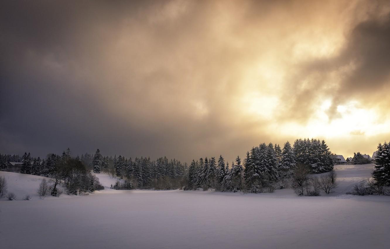 Photo wallpaper winter, the sky, snow, sunset, nature