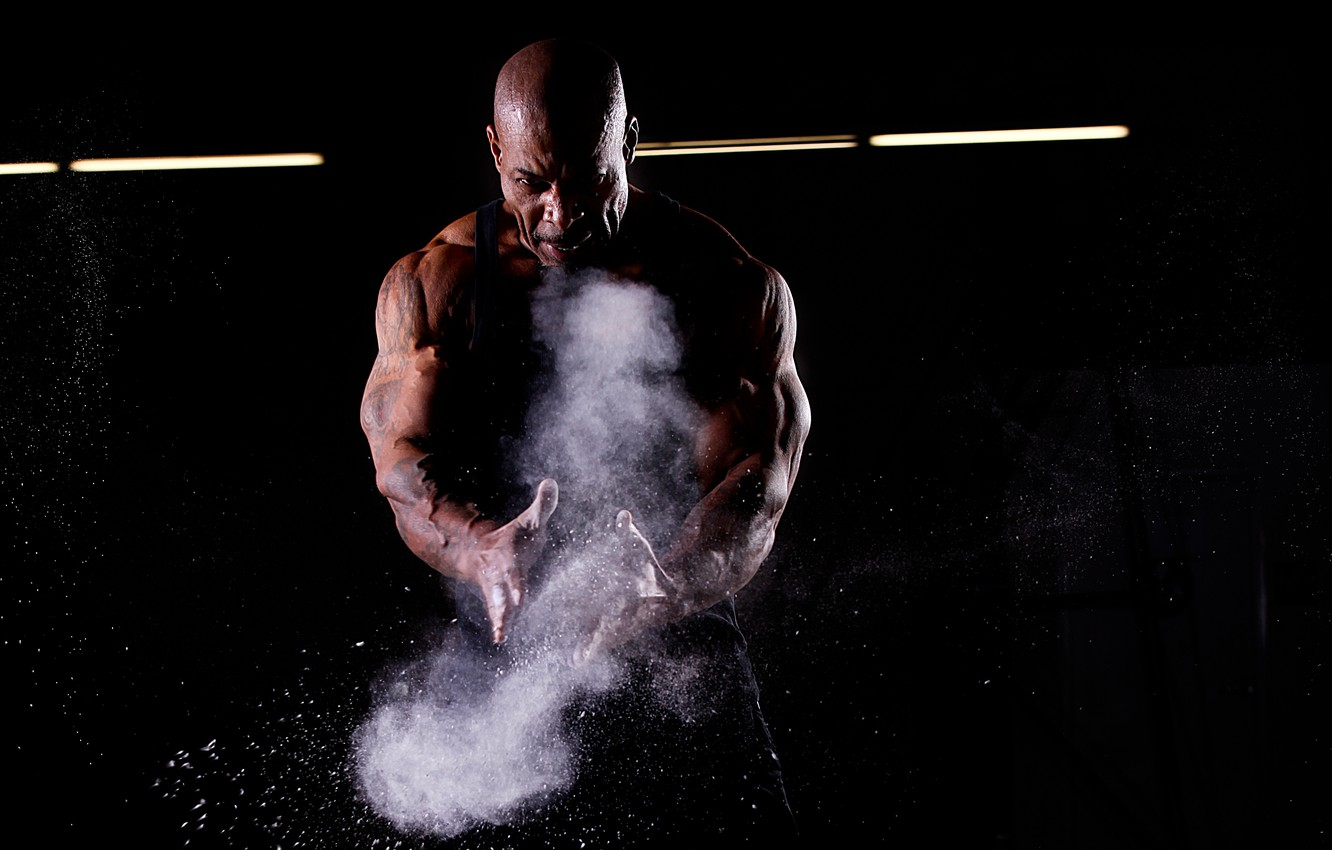 Photo wallpaper squirt, dust, tattoo, tattoo, black background, muscle, muscle