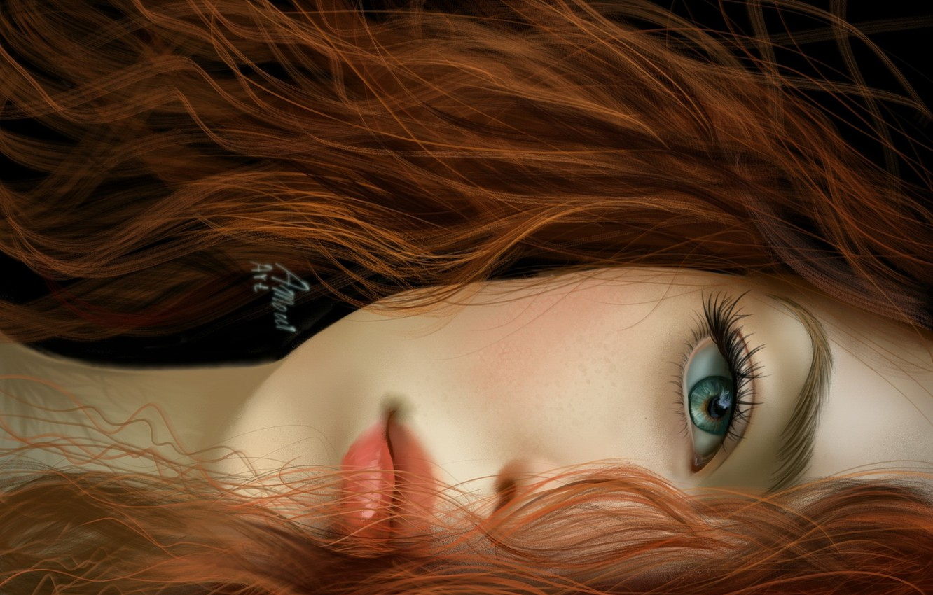 Photo wallpaper look, girl, face, eyes, hair, art, lips, red