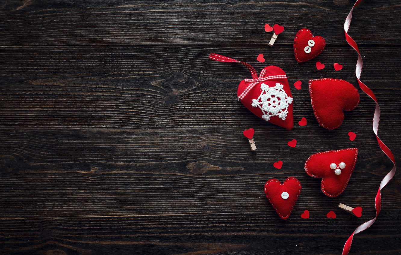 Photo wallpaper love, heart, hearts, red, love, heart, wood, romantic, Valentine's Day, decoration