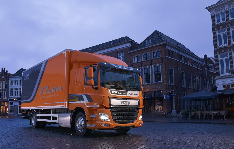 Photo wallpaper orange, the city, overcast, the evening, area, van, dampness, DAF, DAF, Silent, platform, 4x2, Euro6, …