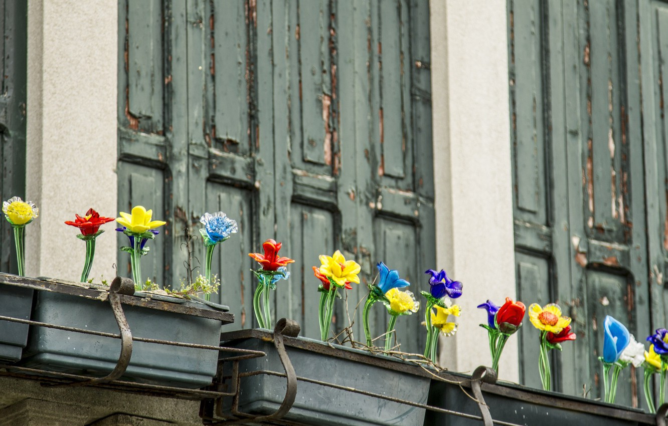 Photo wallpaper Italy, Venice, shutters, glass flowers, the island of Murano