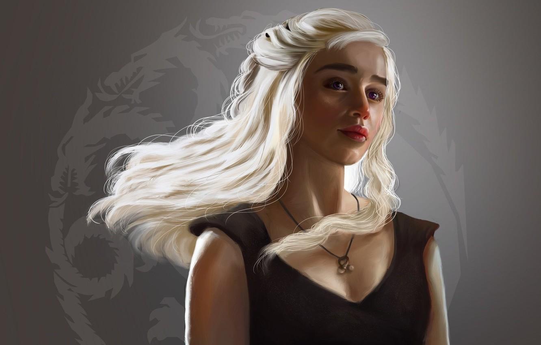 Wallpaper Girl Fantasy Long Hair Art Painting Dragon