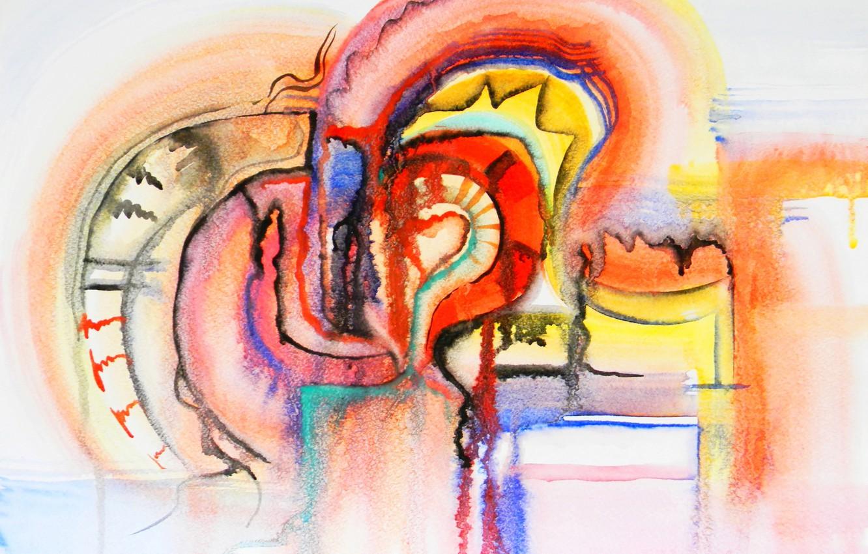 Photo wallpaper orange, blue, red, yellow, black, Lena Horn, a wet mark, daub