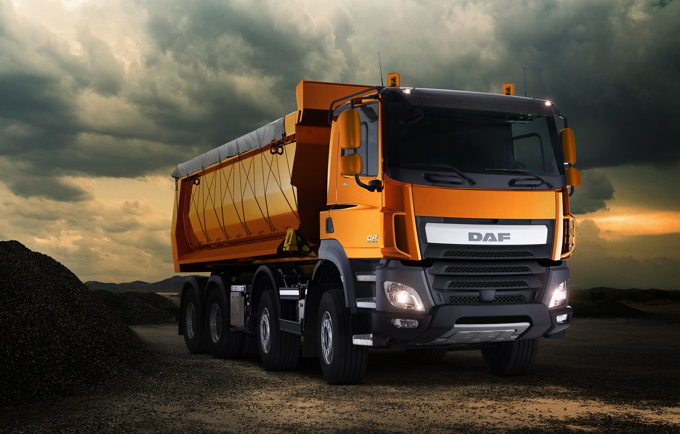 Photo wallpaper the sky, orange, clouds, tent, body, breed, DAF, DAF, dump truck, 8x4, Euro6, DAF CF …