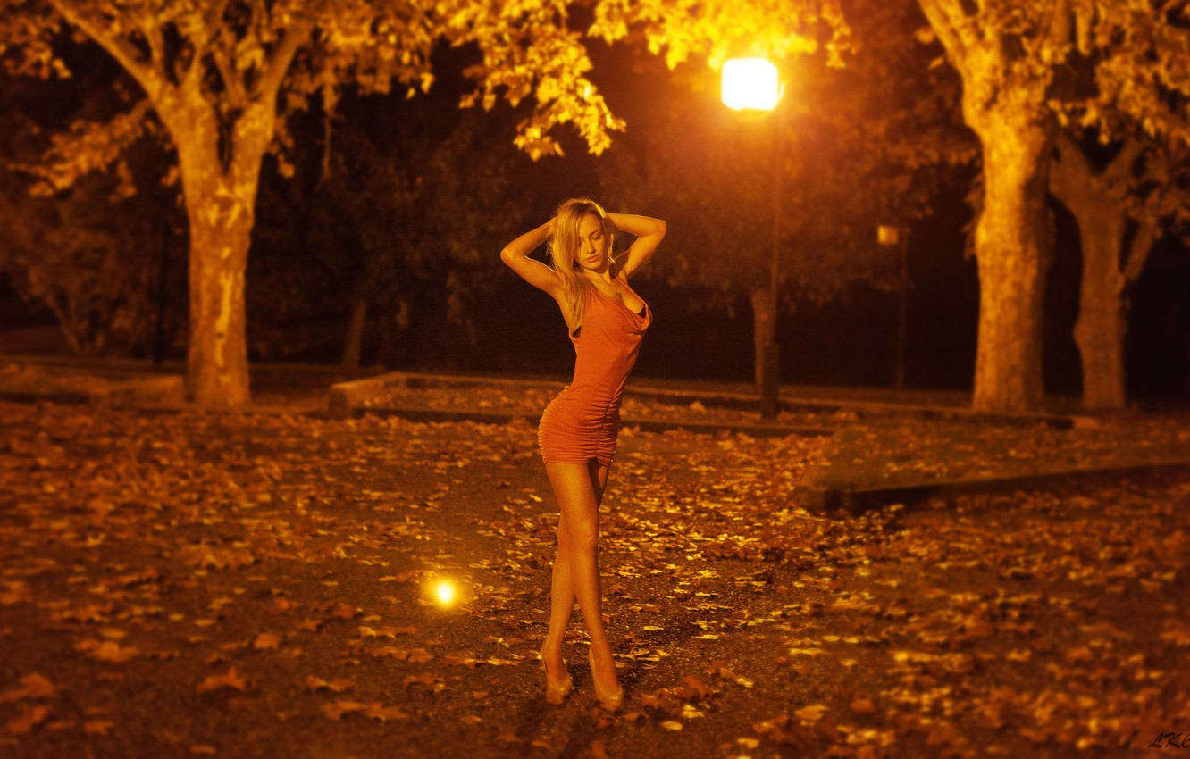 Photo wallpaper leaves, trees, night, lights, sexy, Park, model, figure, slim, dress, hairstyle, blonde, lights, shoes, legs, …