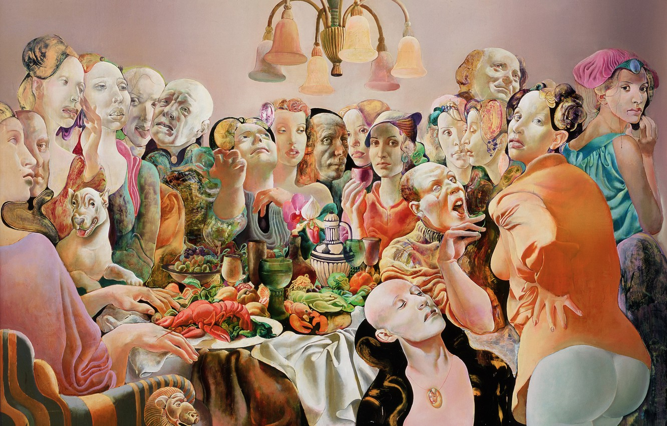 Photo wallpaper people, chandelier, feast, 1993, Figurative painting, Normunds Braslins, The Company I