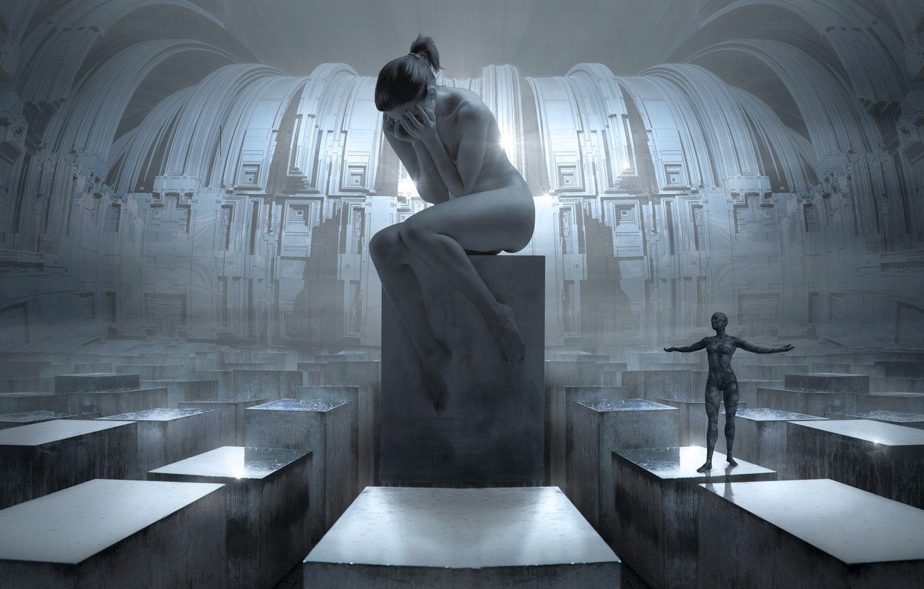 Photo wallpaper girl, light, space, future, rendering, emotions, grey, fiction, design, woman, silver, people, despair, structure, technology, …