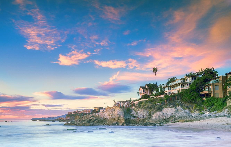 Photo wallpaper sea, beach, the sky, clouds, stones, coast, home, the evening, CA, USA, Laguna Beach