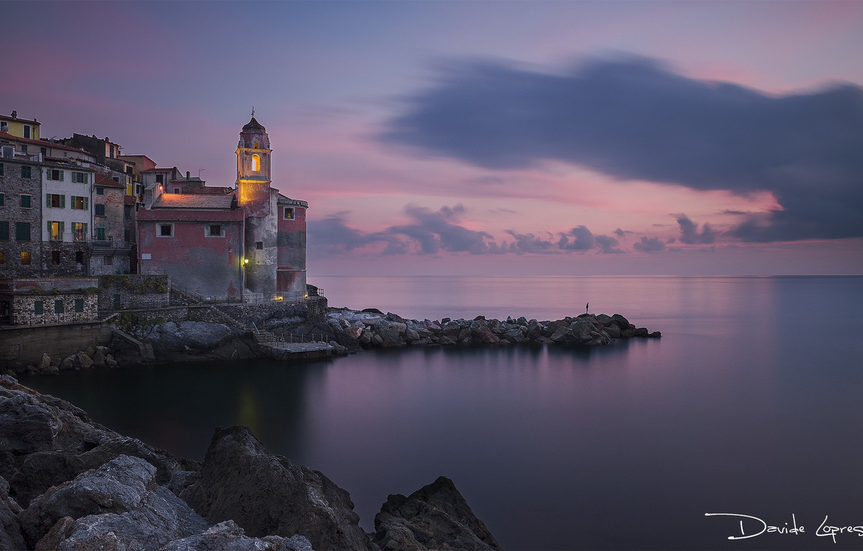 Photo wallpaper sea, the sky, landscape, sunset, shore, horizon, Italy
